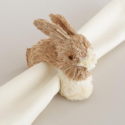 Sisal Easter Bunny Napkin Rings, Set of 4
