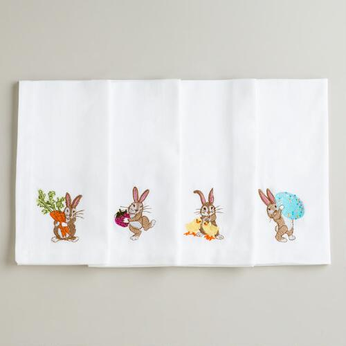 Bunny Embroidered Napkins, Set of 4