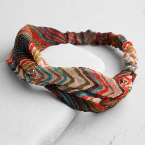 Brown Zigzag Twisted Knot Headband