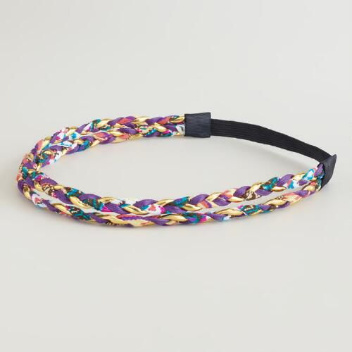 Purple and Gold Double-Braided Headband