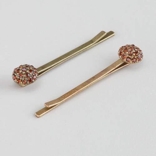Amber Circle Hairpins, Set of 2