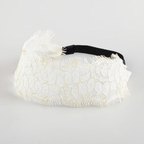 Ivory and Gold Lace Headband