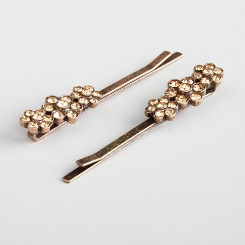 Amber Three-Flower Hairpins, Set of 2