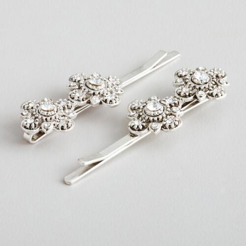 Silver Flower Hairpins, Set of 2