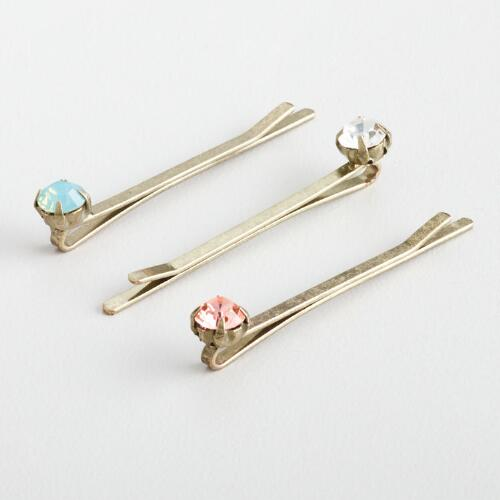 Aqua, Pink and Clear Hairpins, Set of 3