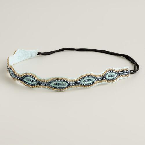 Aqua and Blue Beaded Rhinestone Headband