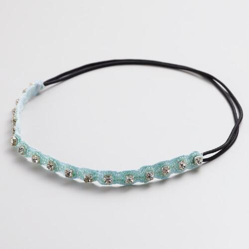 Aqua Beaded Headband with Large Rhinestones