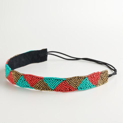Tribal Turquoise, Coral and Bronze Beaded Headband