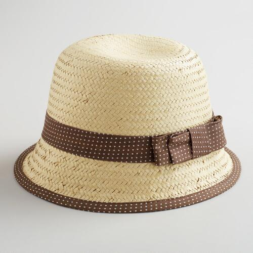 Brown Dotted Band Cloche Hat