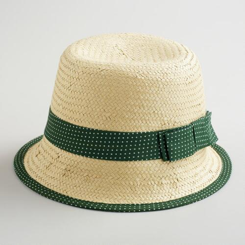 Green Dotted Band Cloche Hat