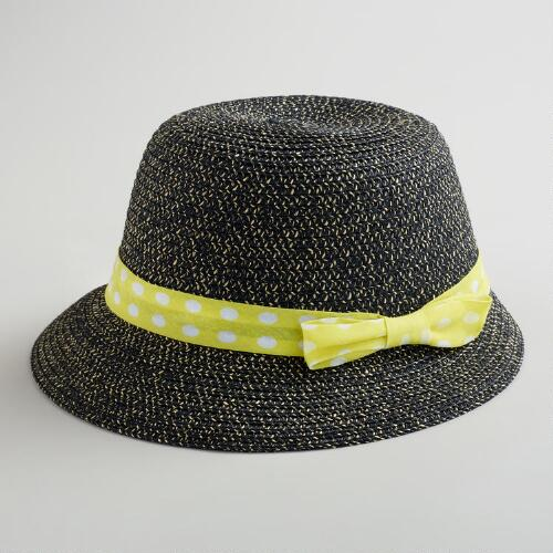 Black Bucket Hat with Yellow Dotted Bow