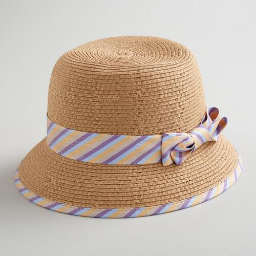 Lavender Striped Banded Cloche Hat