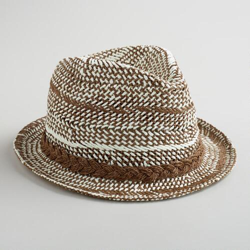 Ivory and Brown Banded Fedora Hat