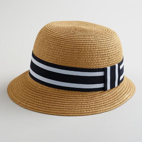 Brown Bucket Hat with Black Striped Band