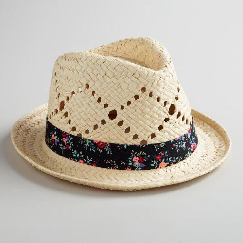 Woven Fedora Hat with Floral Band