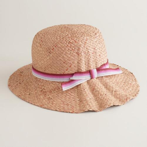 Bucket Hat with Magenta Striped Ribbon