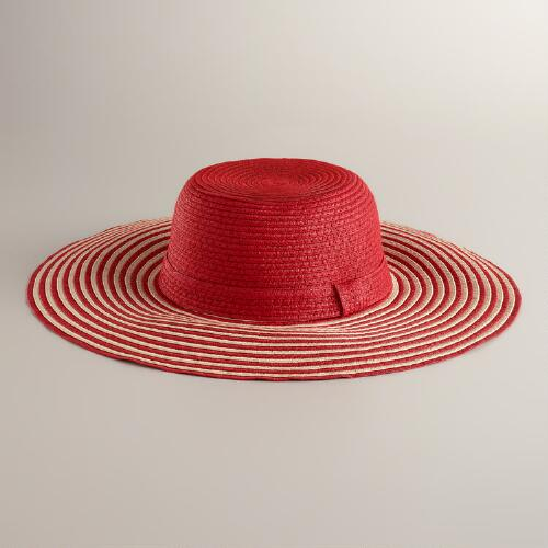 Red Striped Brim Sun Hat