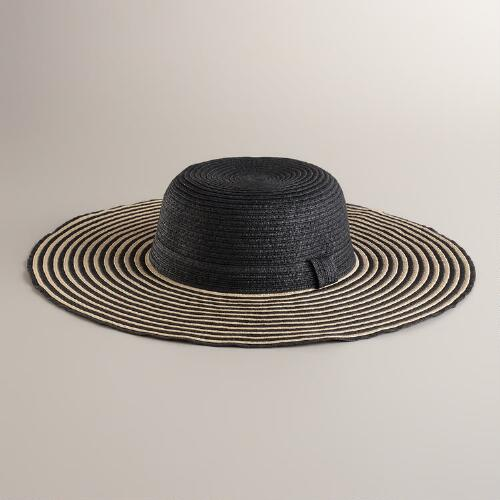 Black Striped Brim Sun Hat