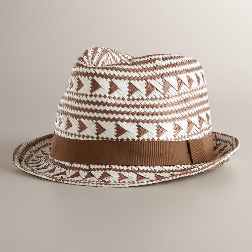Brown and Ivory Tribal Fedora Hat