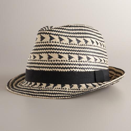 Black and Ivory Tribal Fedora Hat