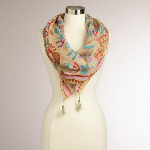 Oatmeal Dotted Animal Square Scarf