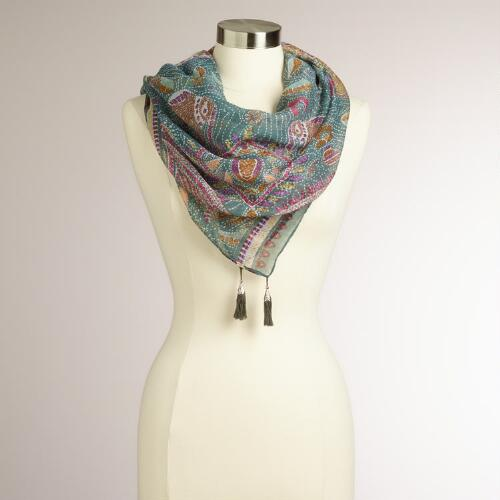 Gray Dotted Animal Square Scarf