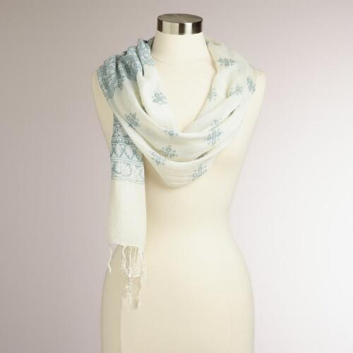 Gray Floral Bhuti Scarf