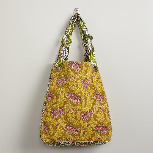 Yellow and Green Kalamkari Tote