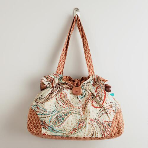 Embroidered Paisley Kantha Bag with Wood
