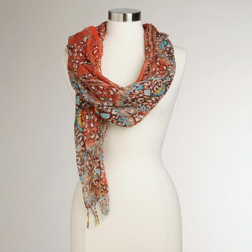 Turquoise and Coral Medallions Scarf