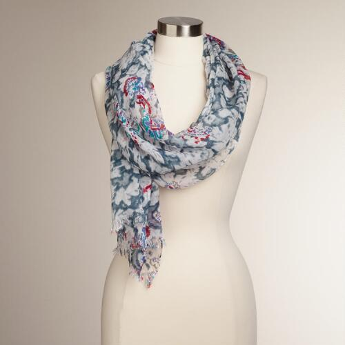 Gray and Red Faded Paisley Scarf