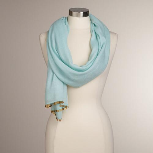Light Blue Scarf with Brass Coins
