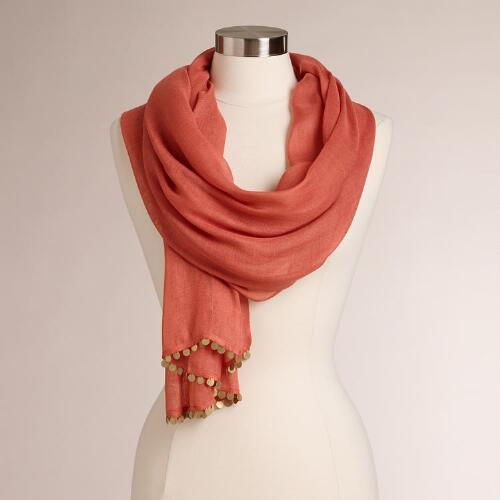 Coral Scarf with Brass Coins