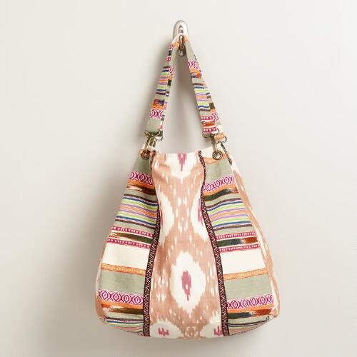 Tan and Multicolored Striped Ikat Bag