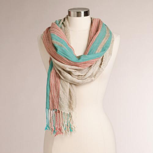 Aqua and Coral Jacquard Scarf