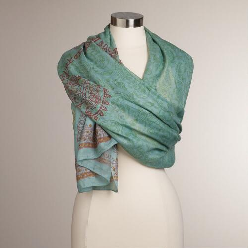 Green Hand Block Printed Prayer Shawl