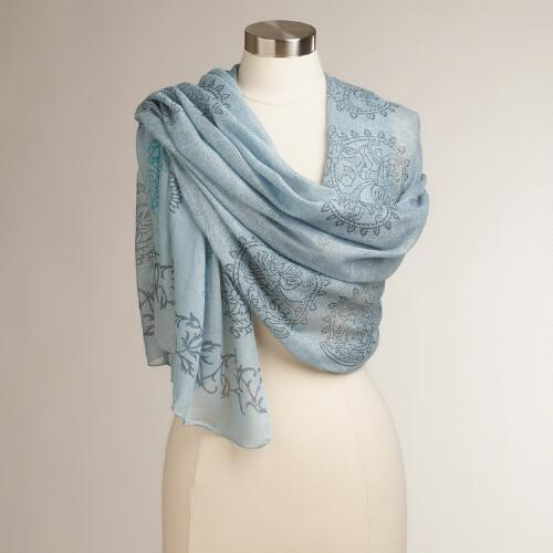 Blue Hand Block Printed Prayer Shawl