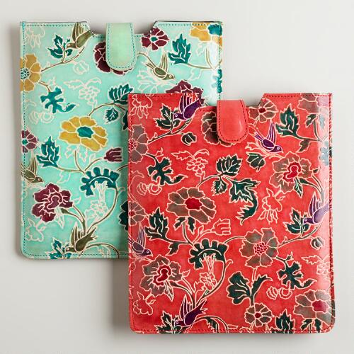 Floral Leather Tablet Sleeve