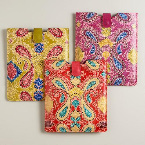 Paisley Leather Tablet Sleeve