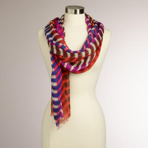 Pink, Blue and Brown Striped Chevron Scarf