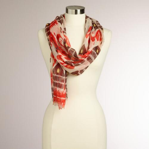 Red and Brown Ikat Scarf
