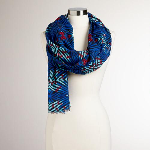 Blue and Red Diamond Tribal Scarf