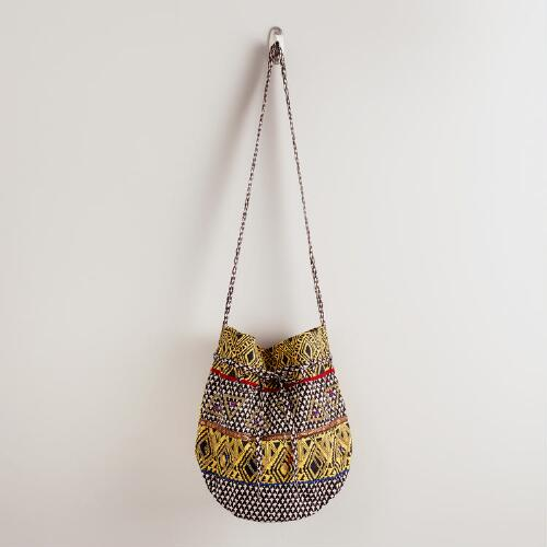 Yellow and Black Tribal Bucket Bag