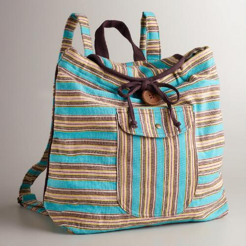 Blue Striped Carpet Backpack