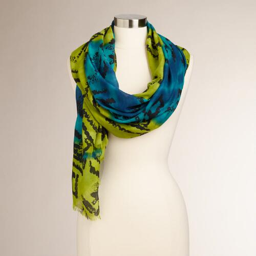 Blue and Green Batik Tribal Scarf