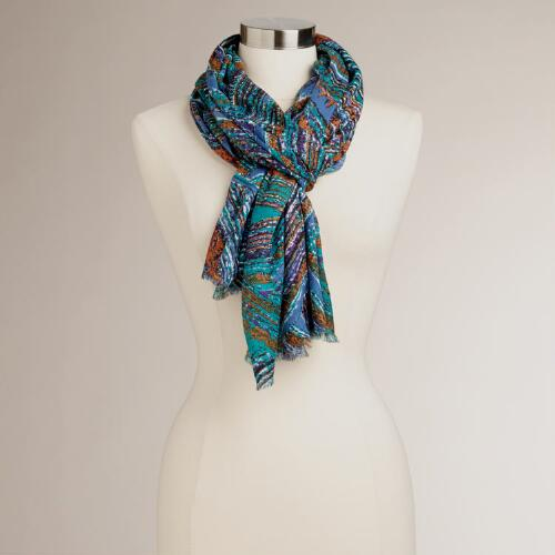Blue, Turquoise and Rust Geometric Scarf