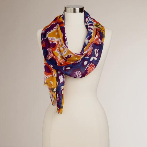Blue, Purple and Yellow Tribal Scarf