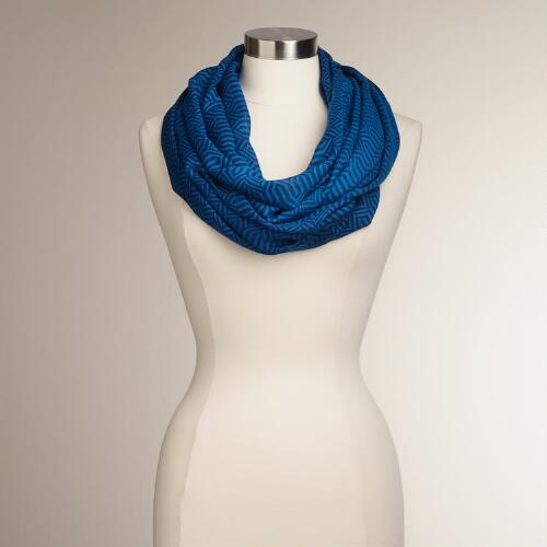 Blue and Black Geometric Arrows Infinity Scarf