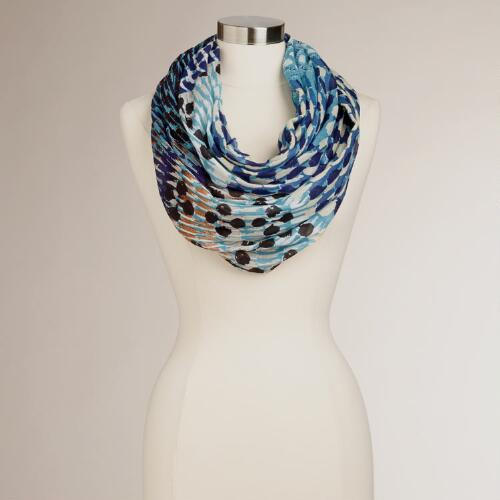 Blue Abstract Printed Infinity Scarf