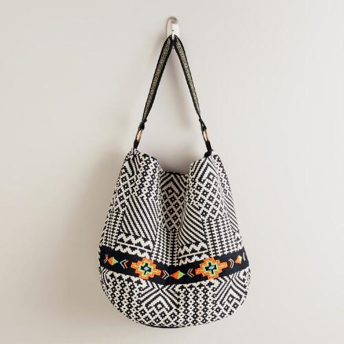 Black and White Jacquard Handbag with Beads